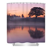 Reflections In A Lake At Dawn / Maynooth Shower Curtain by Barry O Carroll