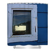 Reflections In A Shed Window - Curiosity - Fishing Shower Curtain