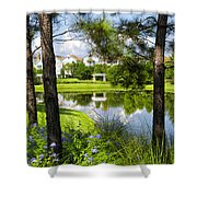 Reflections In A Tranquil Pond Shower Curtain