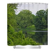 Reflections In Spring Green Shower Curtain