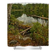 Reflections In Starvation Lake Shower Curtain
