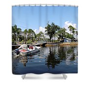 Reflection's Of A Lone Fisherman Shower Curtain