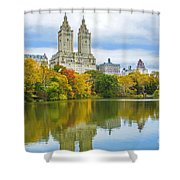 Reflections Of Autumn Central Park Lake  Shower Curtain