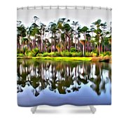 Reflections Of Pines Shower Curtain