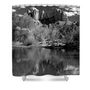 Reflections Of Sedona Black And White Shower Curtain