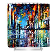Reflections Of The Blue Rain - Palette Knife Oil Painting On Canvas By Leonid Afremov Shower Curtain