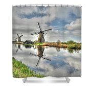 Reflections Of Wndmills Shower Curtain