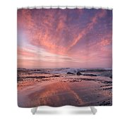 Reflections On North Jetty Dusk Shower Curtain