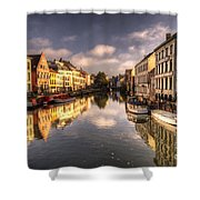 Reflections Over Ghent Shower Curtain