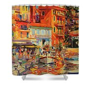 Reflections - Villefranche Shower Curtain by Peter Graham