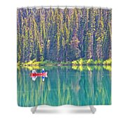 Reflective Fishing On Emerald Lake In Yoho National Park-british Columbia-canada  Shower Curtain