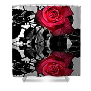 Reflective Red Rose Shower Curtain