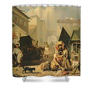 Refreshment Stall In St. Petersburg, 1858 Oil On Canvas Shower Curtain