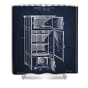Refrigerator Patent From 1901 - Navy Blue Shower Curtain