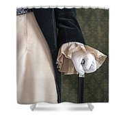 Regency Man Holding A Silver Topped Cane Shower Curtain