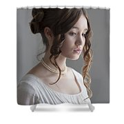 Regency Period Woman Portrait Beautiful Young  Shower Curtain