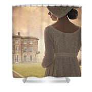 Regency Period Woman With Mansion In Background Shower Curtain