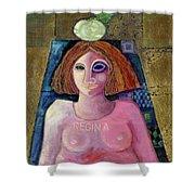Regina, 2004 Acrylic & Metal Leaf On Canvas Shower Curtain