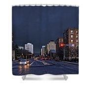 Regina Street At Night Shower Curtain