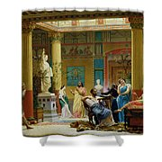 Rehearsal Of The Fluteplayer And The Diomedes Wife In The Atrium Of The Pompeian House Of Prince Shower Curtain
