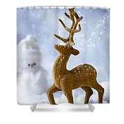 Reindeer In Snow Shower Curtain
