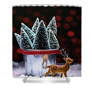 Reindeer With Christmas Trees Shower Curtain