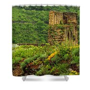 Reinfels Castle Ruins And Wildflowers In The Rhine River Valley 1 Shower Curtain