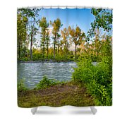 Relax By The Methow Rivers Edge Shower Curtain