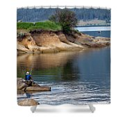 Relaxed Fisherman Shower Curtain by Robert Bales