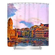 Relaxing Around Vernazza Shower Curtain