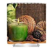 Relaxing Spa Candle Shower Curtain