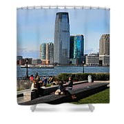 Relaxing Weekend On New York Harbor Shower Curtain