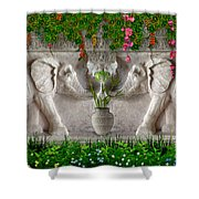 Relief Of African Elephants Shower Curtain