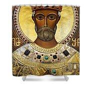 Religious Art Inside The Tsminda Sameba Cathedral Tbilisi Shower Curtain