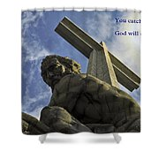 Religious Sculpture And Words Shower Curtain