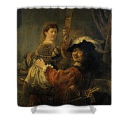 Rembrandt And Saskia In The Parable Of The Prodigal Son Shower Curtain