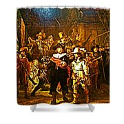 Rembrandt Painting Covered A Wall In Rijksmuseum In Amsterdam-netherlands Shower Curtain