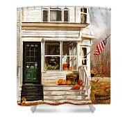 Remembering When- Porches Art Shower Curtain
