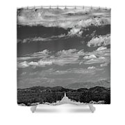 Remote Desert Road To Mountains Shower Curtain