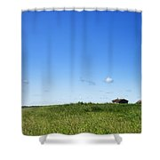 Remote Prairie Landscape With Abandoned Buildings Shower Curtain