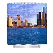 Renaissance Center, Detroit, Sunrise Shower Curtain