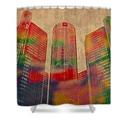 Renaissance Center Iconic Buildings Of Detroit Watercolor On Worn Canvas Series Number 2 Shower Curtain
