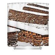 Renewable Heat Source Firewood Stacked In Winter Shower Curtain