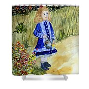 Renoir Girl With Watering Can In Watercolor Shower Curtain