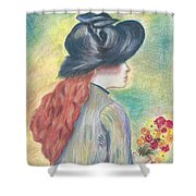 Renoirs' Painting Of Girl Holding A Bouquet In Pastels Shower Curtain