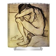 Replica Of Vincent's Drawing - Sorrow Shower Curtain