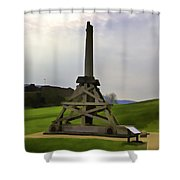 Replica Of Wooden Trebuchet And The Ruins Of The Urquhart Castle Shower Curtain