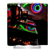 Replicant Arcade Shower Curtain by Benjamin Yeager