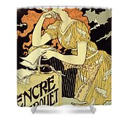 Reproduction Of A Poster Advertising 'marquet Ink' Shower Curtain