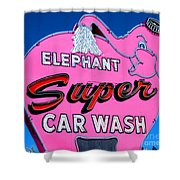 Elephant Super Car Wash Sign Seattle Washington Shower Curtain